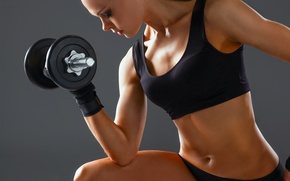 Картинка woman, workout, fitness, arms, dumbbell