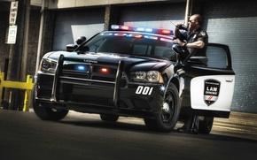 Обои полиция, Dodge, додж, Charger, чарджер, Law Enforcement, Pursuit, проблесковые маячки, полицейский, рация