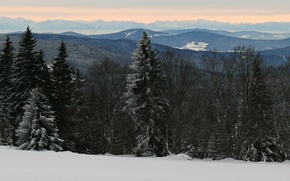 Картинка зима, лес, снег, горы, Чехия, Horská Kvilda, Шумава