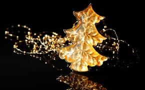 Картинка зима, отражение, фон, черный, игрушка, елка, Новый Год, Рождество, декорации, ёлочка, Christmas, праздники, New Year, ...