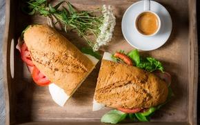 Картинка цветы, кофе, завтрак, сэндвич