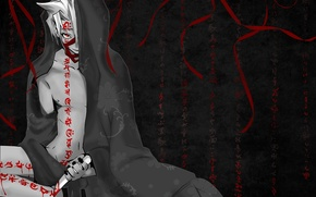 Картинка красный, обои, черный, аниме