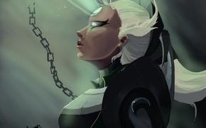 Картинка девушка, луч, арт, цепь, профиль, белые волосы, league of legends, diana