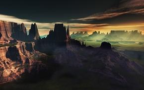 Картинка облака, пейзаж, закат, туман, скалы, вид, арт, lightdrop