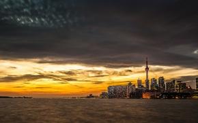 Картинка вода, закат, город, озеро, здания, вышка, Toronto