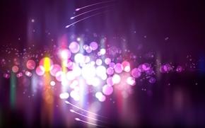 Картинка фиолетовый, круги, огни, яркие