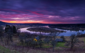 Картинка деревья, река, вечер, утро, домики, Литва