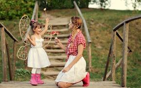Картинка любовь, мост, ребенок, девочка, мать