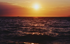 Картинка море, закат, лодка, горизонт, оранжевое небо