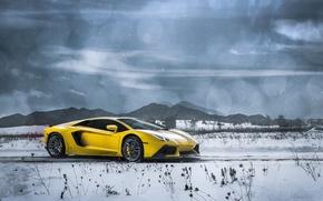 Картинка Lamborghini, Clouds, Front, Snow, Yellow, LP700-4, Aventador, Supercars, Mountains, Wheels, ADV.1