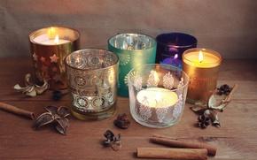 Картинка узоры, свечи, корица