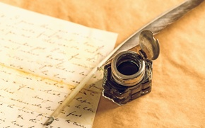 Обои letter, ink, inkwell, pen, paper