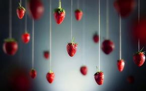 Картинка ягоды, клубника, нитки