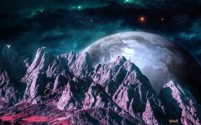 Картинка космос, звезды, горы, туманность, ландшафт, планеты, арт, рельеф, QAuZ