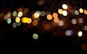 Картинка стекло, капли, макро, ночь, огни, дождь, разноцветные, боке