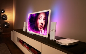 Картинка девушка, лицо, фон, телевизор, колонки, Philips DesignLine TV