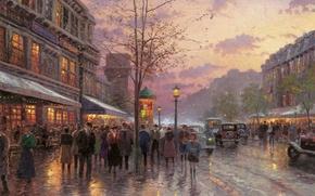 Картинка осень, свет, город, Франция, Париж, Paris, сумерки, живопись, Томас Кинкейд, painting, Thomas Kinkade, бульвар, Boulevard ...