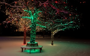 Картинка парк, snow, зима, bench, tree, lights, дерево, огни, ночь, night, park, снег, природа, скамья, nature, ...