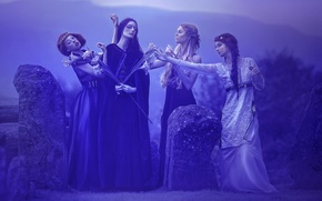 Обои фантазия, арт, Agnieszka Lorek, четыре девушки, Breath of immortality