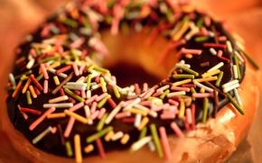 Обои макро, крошка, десерт, macro, пончик, сладость, еда, шоколад, пища