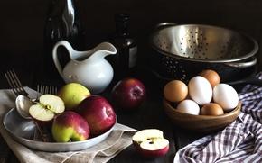 Картинка яблоки, яйца, кувшин, натюрморт