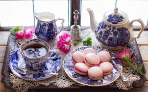 Обои цветы, стиль, чай, сладость, чайник, печенье, чаепитие, кружка, чашка, поднос, макарон