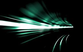 Обои скорость, свет, тоннель, поворот, абстракция
