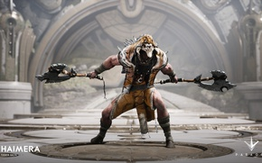 Картинка axe, wallpaper, skull, game, tiger, man, animal, warrior, necklace, powerful, strong, muscular, moom, Paragon, hd, …