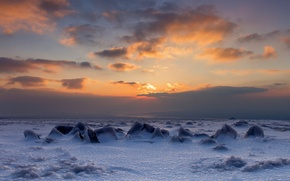 Картинка небо, пейзаж, закат, лёд