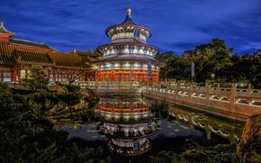 Обои мост, пруд, парк, отражение, Флорида, Орландо, Disney World, Orlando, Florida, Храм Неба, Walt Disney World, ...
