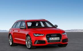 Обои красный, Avnt, Red, ауди, RS 6, Audi, универсал