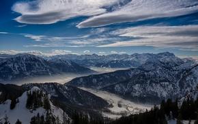 Картинка зима, небо, облака, снег, деревья, горы, природа, долина