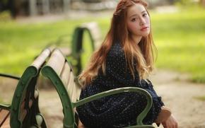 Картинка взгляд, девушка, скамейка, лицо, азиатка, сидит