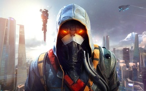 Обои небо, город, дома, маска, солдат, капюшон, мегаполис, шланг, Sony Computer Entertainment, Guerrilla Games, Killzone: Shadow ...