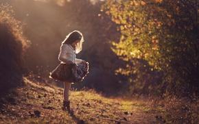 Картинка платье, девочка, солнечный свет, Light shower