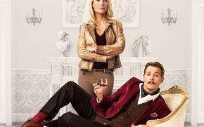 Картинка Johnny Depp, cinema, girl, gold, whiskey, art, man, movie, horse, blonde, film, pose, artwork, decoration, …