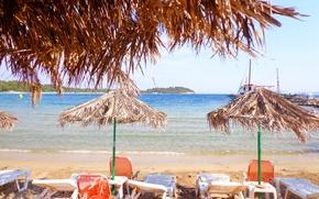 Картинка море, пляж, Греция, зонтики, beach, sea, Кассандра, Greece, Chalkidiki, Халкидики