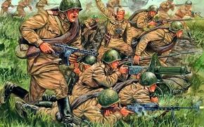 Картинка атака, взрывы, арт, художник, солдаты, стрельба, сражение, ВОВ, WW2, пехоты, советской, Giuseppe Rava., командиром, главе