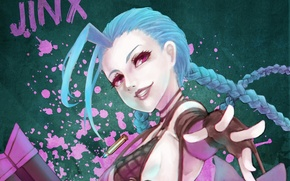 Картинка девушка, арт, League of Legends, LoL, Jinx, MonoriRogue