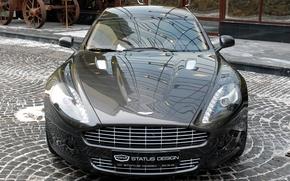 Картинка отражение, Aston Martin, улица, брусчатка