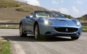 Картинка дорога, Ferrari, california, кабриолет
