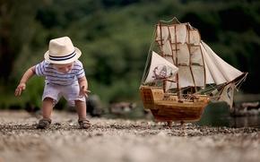 Картинка модель, игра, корабль, мальчик, ребёнок