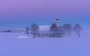 Обои Альпы, горы, зима, дымка, Schwangau, Бавария, Alps, снег, Germany, церковь, Bavaria, Германия, деревья, Швангау, Sankt ...