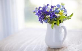 Обои цветы, кувшин, букет