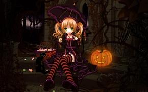 Картинка кошка, зонтик, зонт, арт, конфеты, девочка, тыква, леденец, хэллоуин, tinkerbell