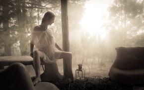 Картинка лес, девушка, свет, настроение