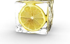 Обои лед, желтый, лимон, половинка