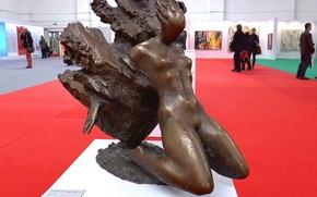 Картинка Девушка, интерьер, выставка, скульптура, interior, sculpture, The girl, exhibition