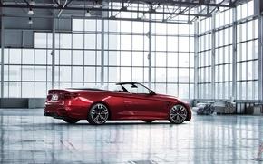 Картинка car, бмв, ангар, red, кабриолет, рендер, bmw m4