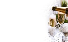 Картинка ветки, шары, бутылка, новый год, рождество, бокалы, ёлка, напиток, декорации, шампанское, праздники, ёлочные украшения